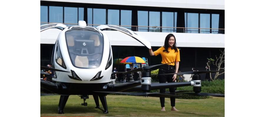 Представители СМИ получили возможность совершить несколько коротких полетов вокруг отеля на воздушном такси 216 EHang